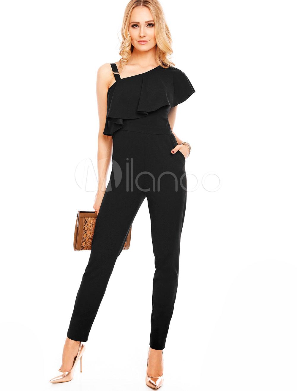 Black Women's Jumpsuit One Shoulder Asymmetrical Short Sleeve Ruffles Long Jumpsuit