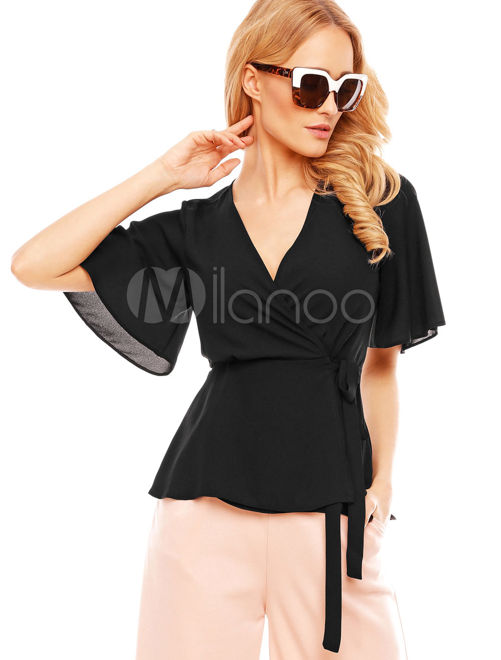 Buy Black Casual Blouses Chiffon V Neck Bell Sleeve Top For Women for $23.74 in Milanoo store