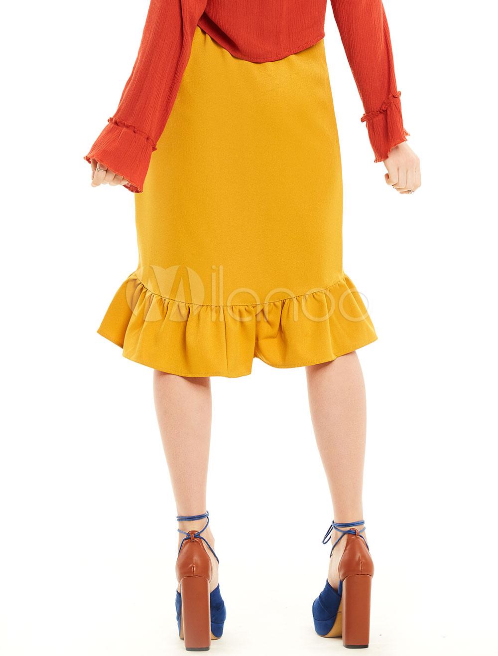 blouissante jupe mode en coton m lang jaune color block coupe asym trique volants. Black Bedroom Furniture Sets. Home Design Ideas