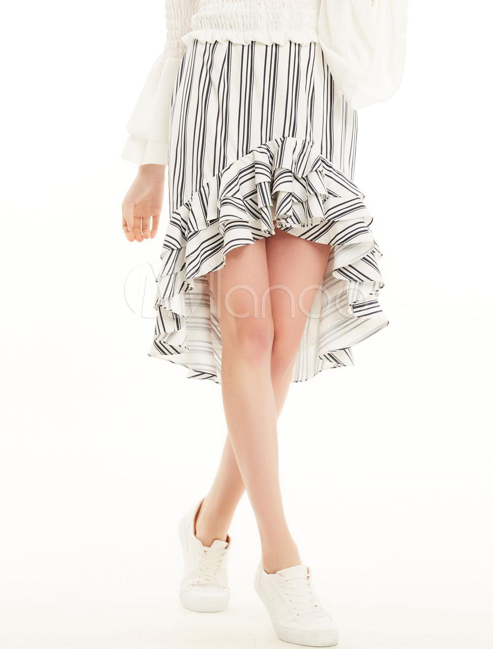 Black Summer Skirt Striped High Low Layered Ruffles Women's Skirt