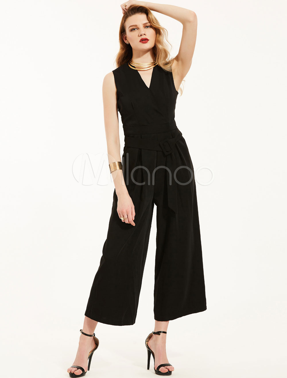 Black Summer Jumpsuit V Neck Sleeveless Chiffon Cropped Loose Leg Women's Long Jumpsuit