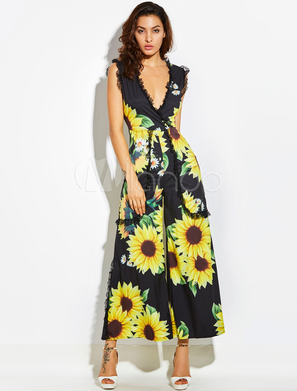 Buy Yellow Long Jumpsuit Lace V Neck Sleeveless Floral Print Wide Leg Jumpsuit For Women for $44.99 in Milanoo store