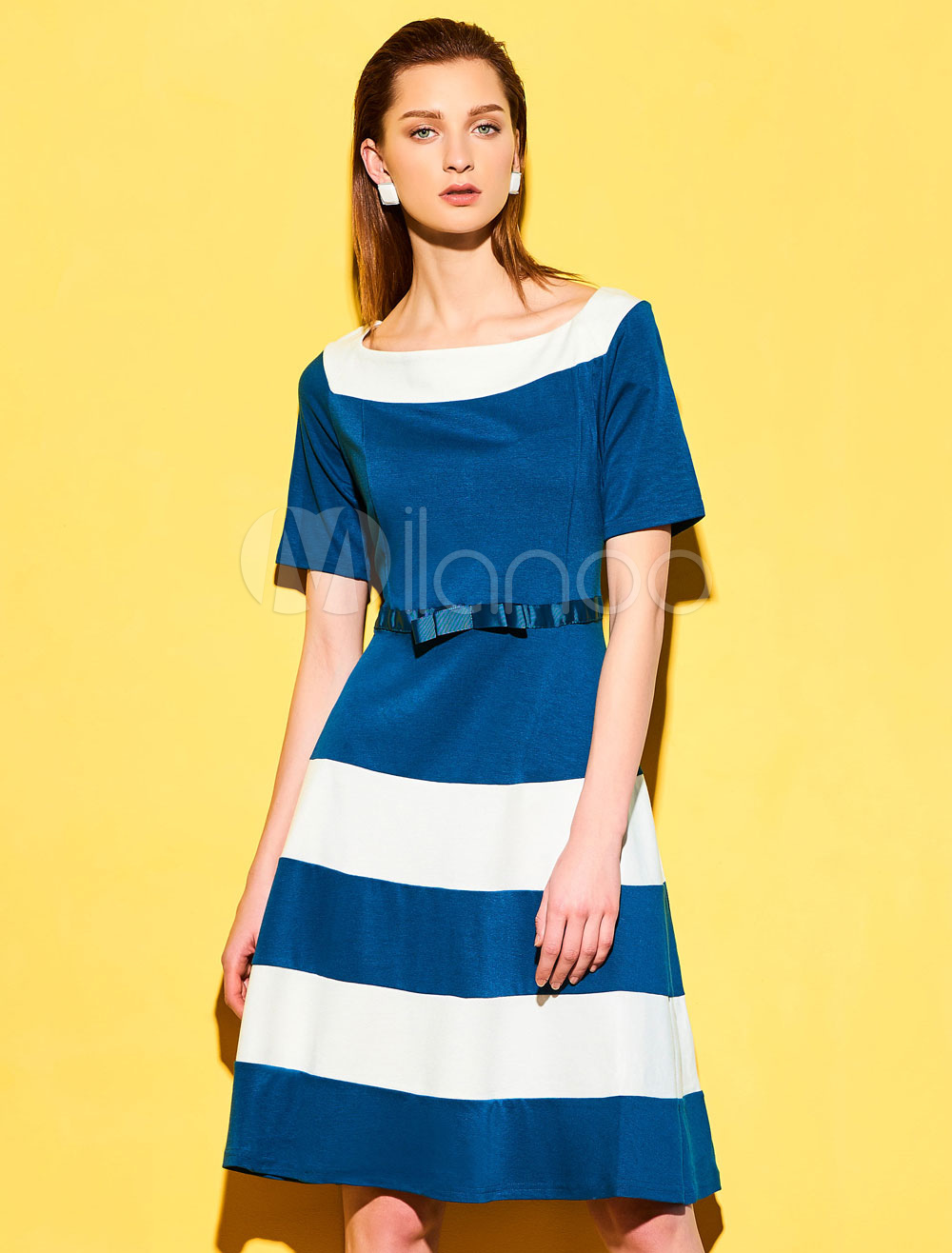 Buy Blue Vintage Dress Round Neck Short Sleeve Bows Striped A Line Dresses For Women for $23.74 in Milanoo store