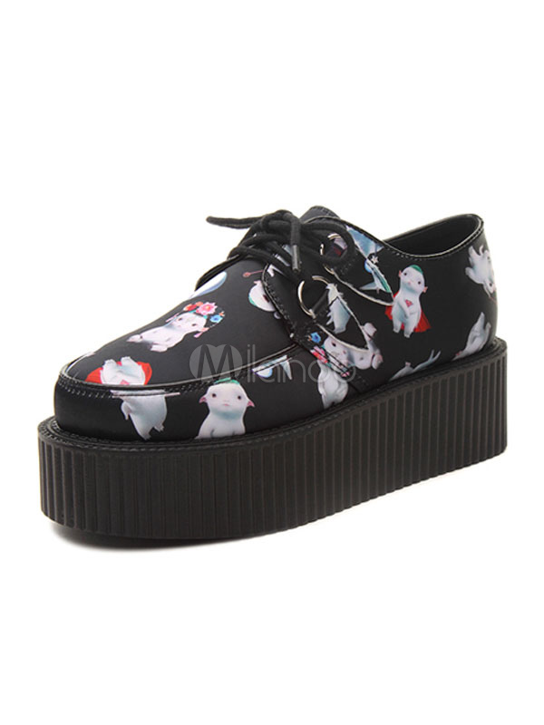 Black Flatform Sneakers Women's Round Toe Printed Lace Up Casual Shoes