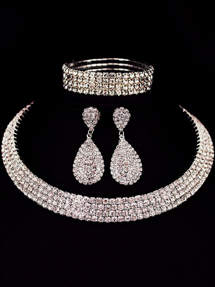 Wedding Necklace Set Silver Drop Earrings Rhinestones Beaded Bangle Bracelet Bridal Jewelry Set