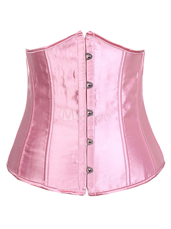 Pink Sexy Corset Sleeveless Lace Up Underbust Waist Trainer For Women