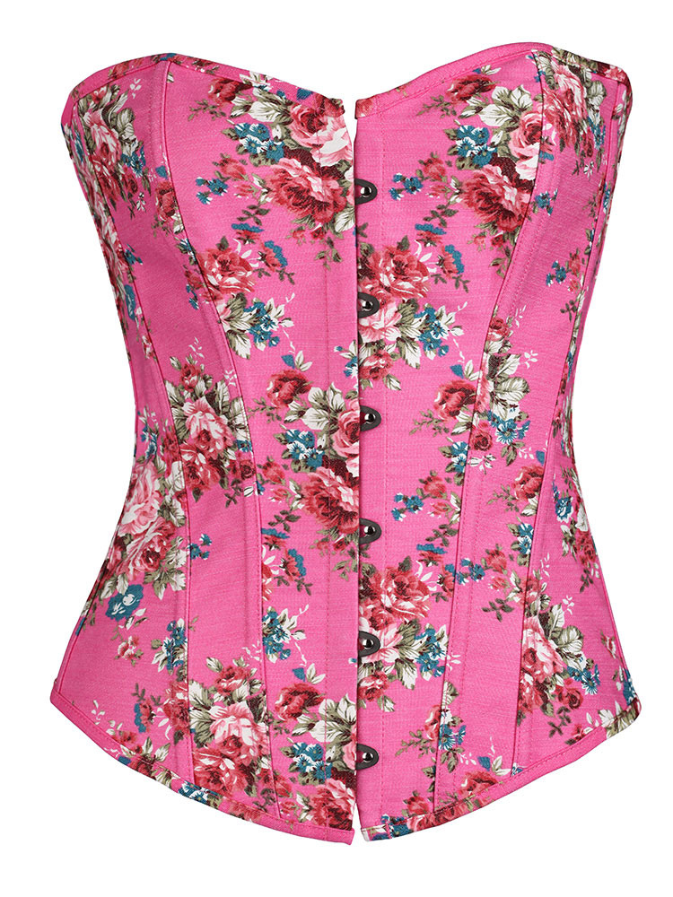Pink Women's Corsets Lace Up Sweetheart Neck Sleeveless Printed Sexy Waist Trainer