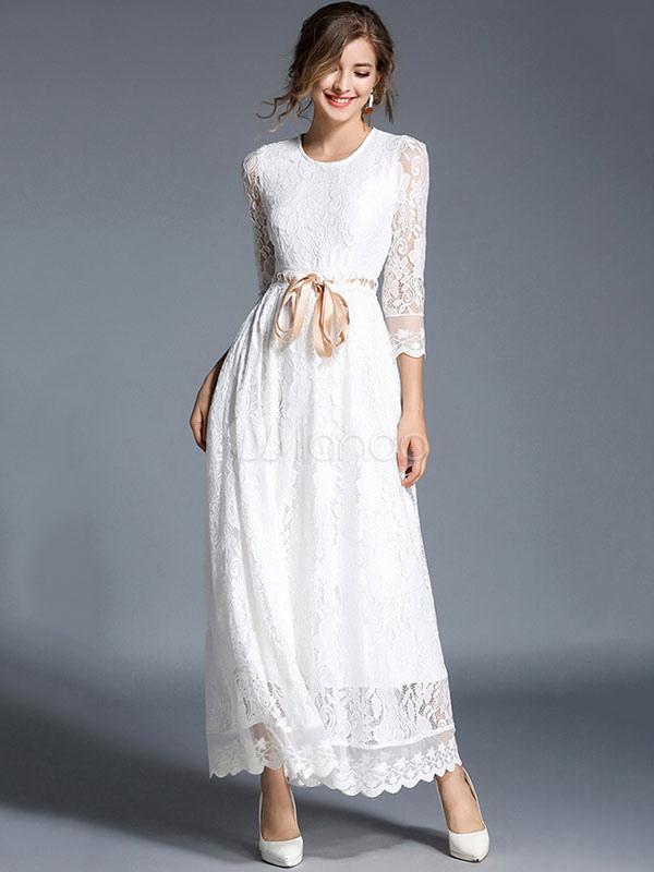 0536f47d150 Белое кружевное платье с круглой шейкой 3 4 длинное платье с длинным  рукавом с лентой ...