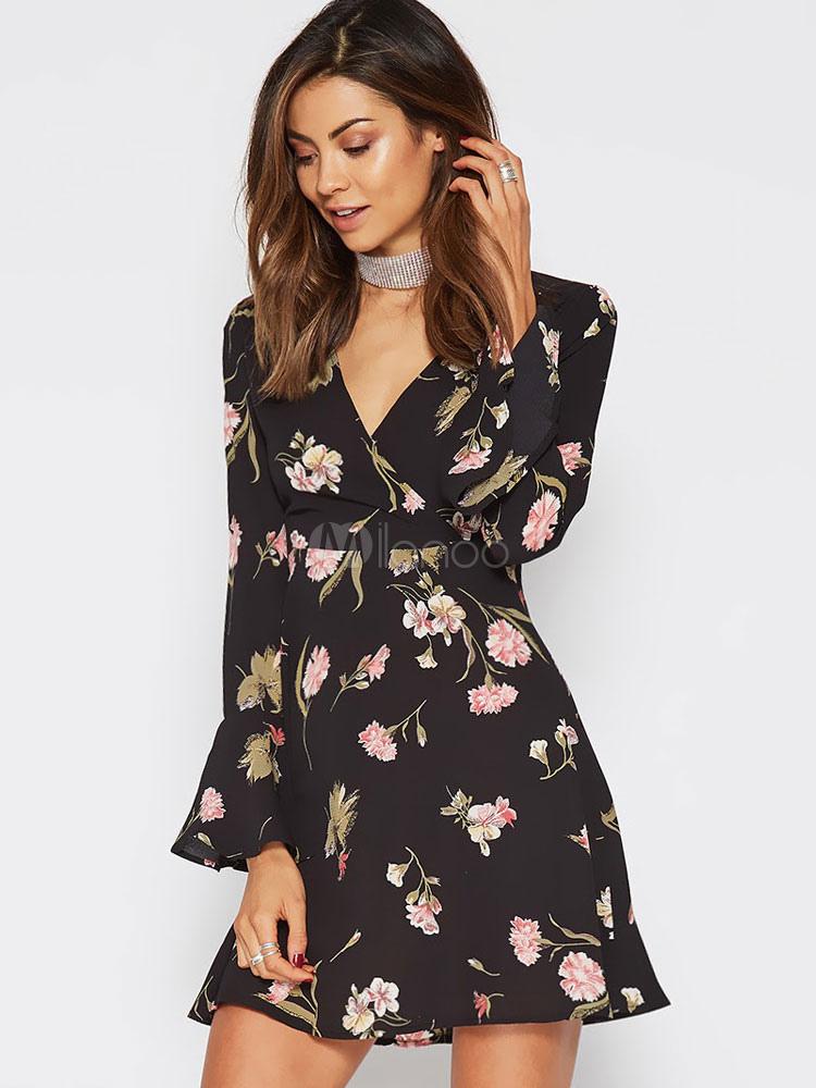 58b7b52c09e8 Vestito plissettato nero corto in chiffon maniche lunghe con scollo a V  abbigliamento giornaliero stampa floreale ...