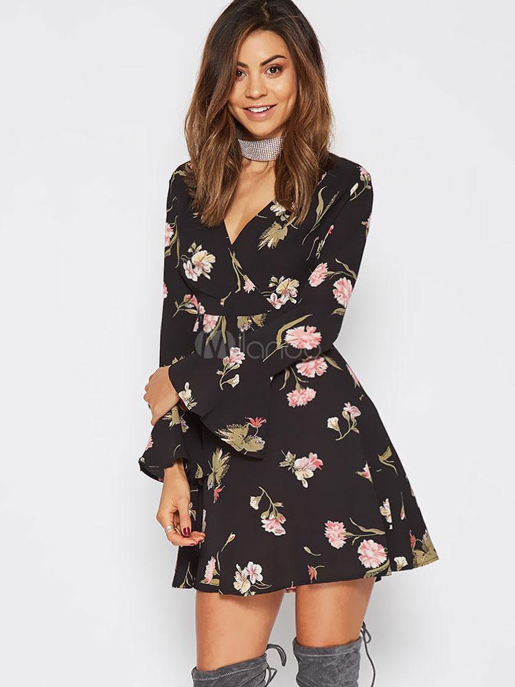 Black Skater Dress V Neck Bell Sleeve Chiffon Floral Print Women s Short ... 5dcee6505