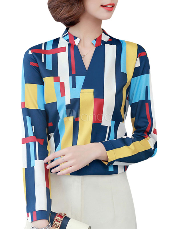 Blue Casual Shirt Geometric Print Notched Neckline Long Sleeve Women's Blouse