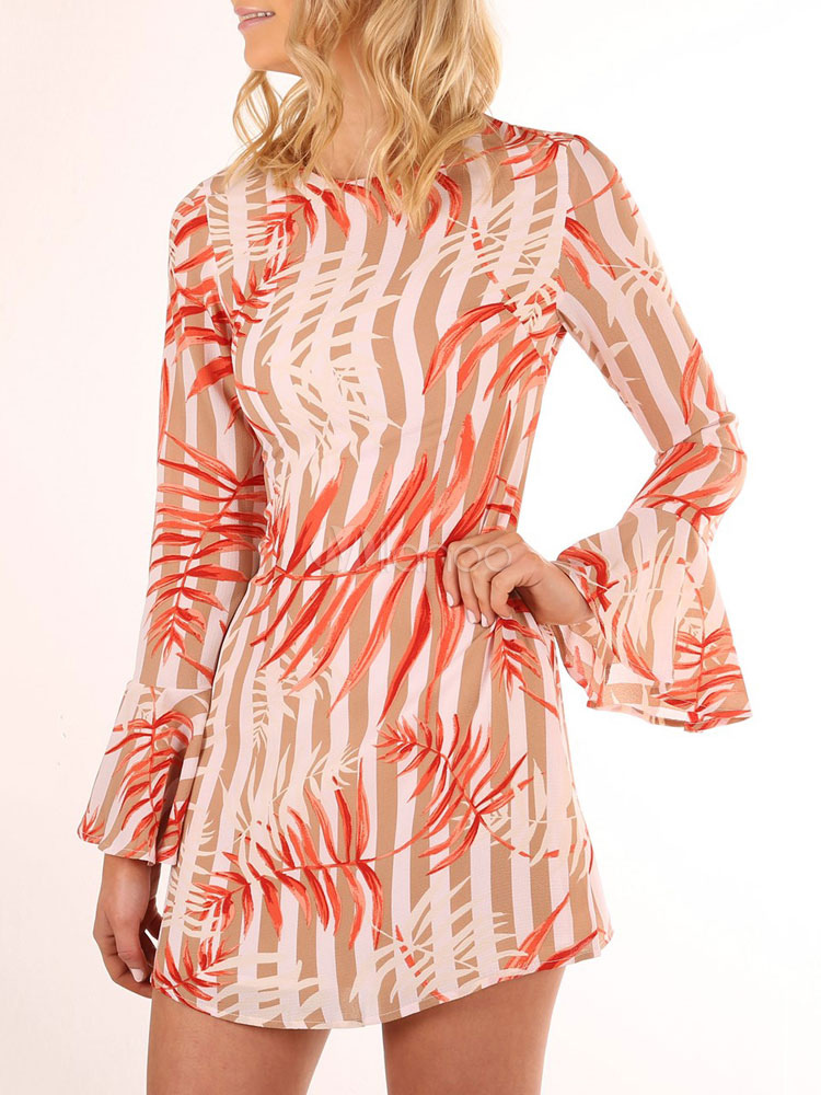 Buy Apricot Mini Dress Round Neck Bell Sleeve Striped Printed Women's Short Dresses for $26.99 in Milanoo store