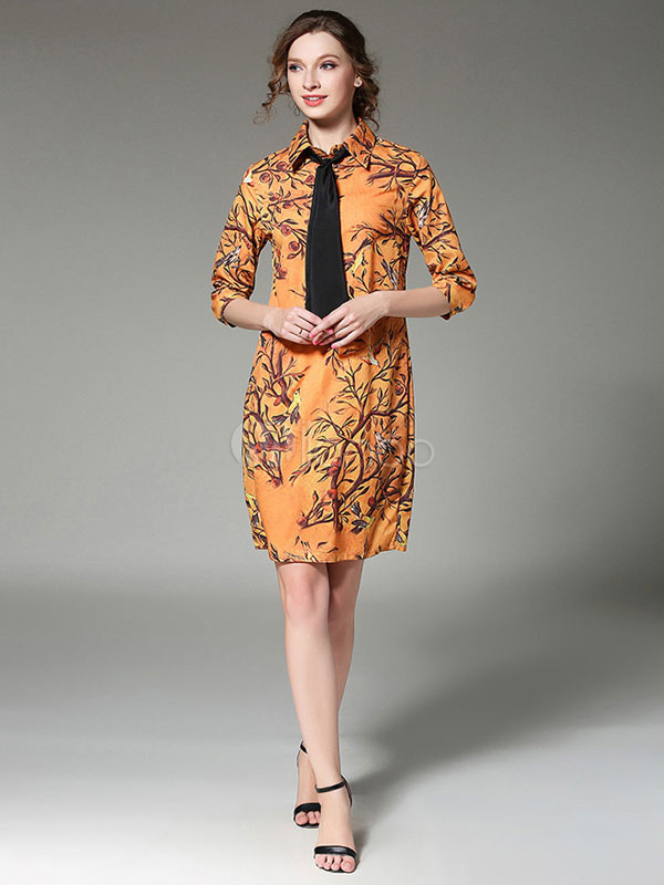 Yellow Shirt Dress Women's Half Sleeve Turndown Collar Floral Print Dresses With Tie Cheap clothes, free shipping worldwide