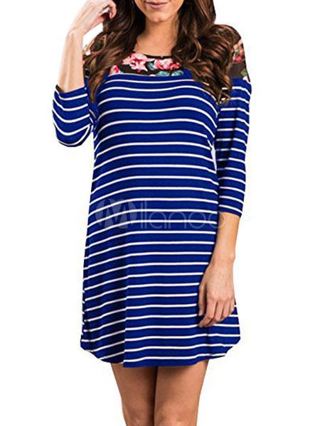 8a0b86c8a41 T Shirt Dress Royal Blue Round Neck Striped Floral Print 3 4 Length Sleeve  Short ...