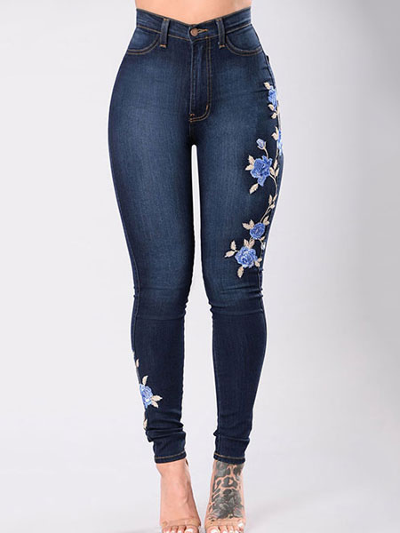 Women's Denim Jeans Deep Blue Embroidered Skinny Long Jeans Cheap clothes, free shipping worldwide