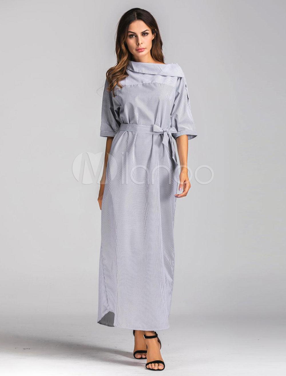 Women's Long Dress Asymmetrical Collar Striped Half Sleeve Light Grey Maxi Dresses