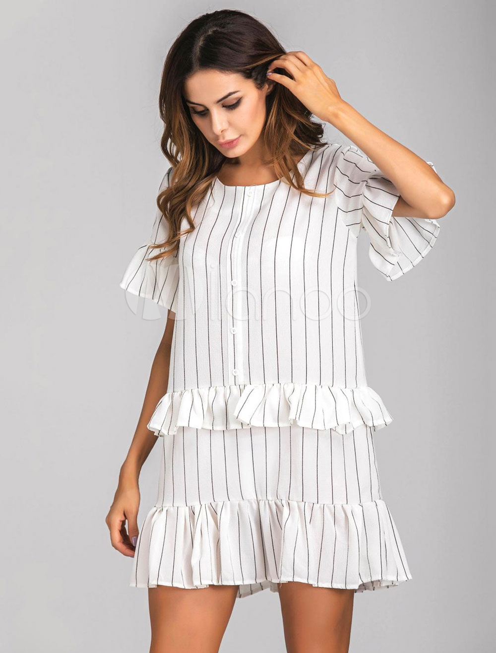 Buy White Shift Dress Round Neck Short Sleeve Ruffles Striped Short Dresses For Women for $23.74 in Milanoo store