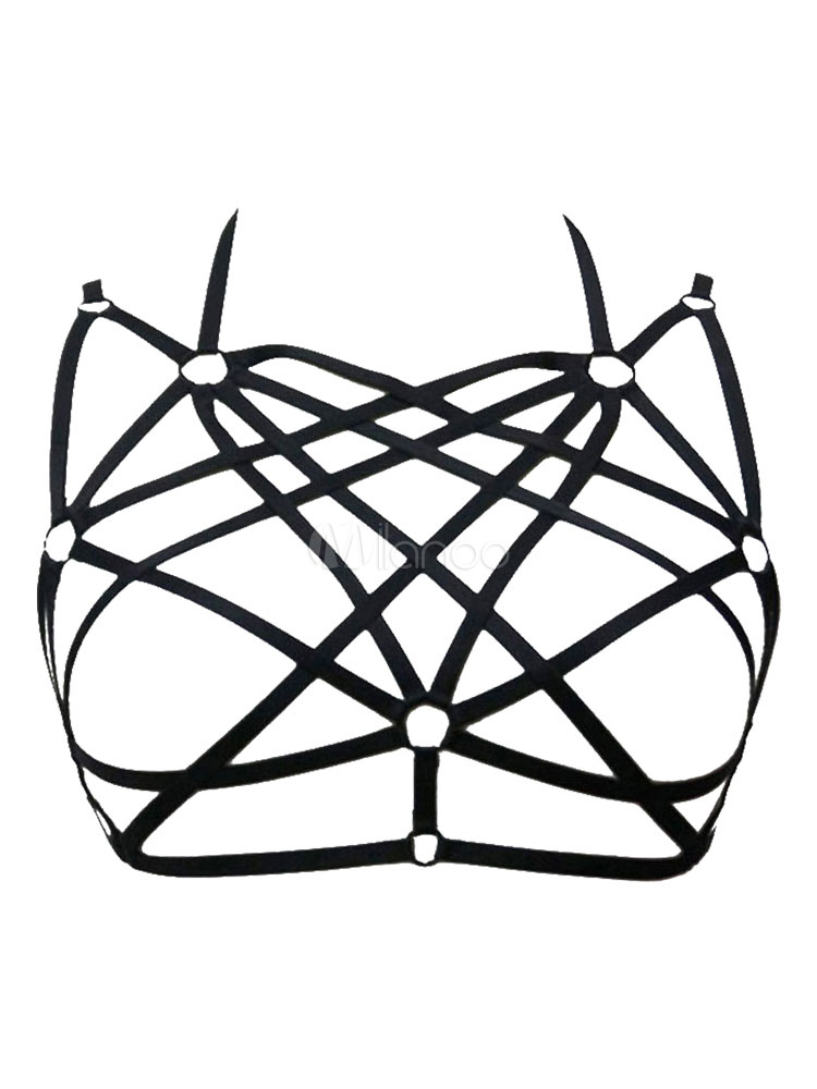 Black Cage Bra Women Cut Out Bondage Harness Pentagram Bralette