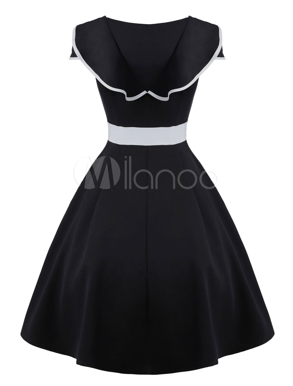 a87dfe531a3da4 Black Vintage Dress Round Neck Sleeveless Ruffles Two Tone Women's ...