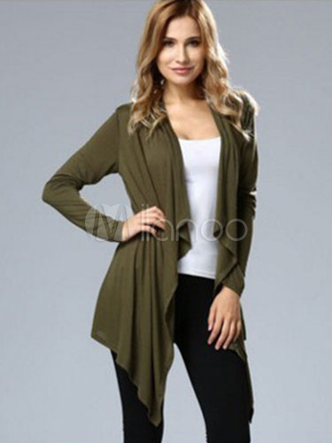 Women's Waterfall Cardigan Long Sleeve Hunter Green Outerwear