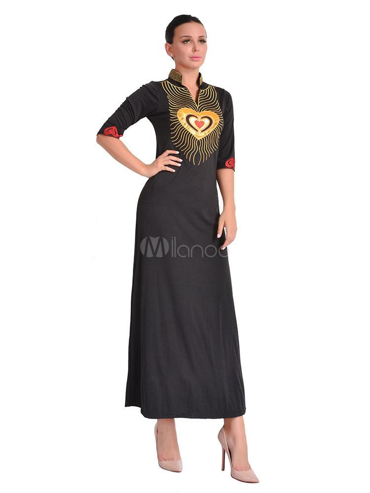 ea89e344c5a7 Vestido largo de algodón mezclado con escote Ilusión de corazón con bordado  con 1 2 ...
