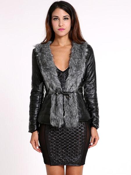 Buy Black Moto Jacket Long Sleeve Faux Fur Collar Women's Leather Like Jackets for $42.74 in Milanoo store