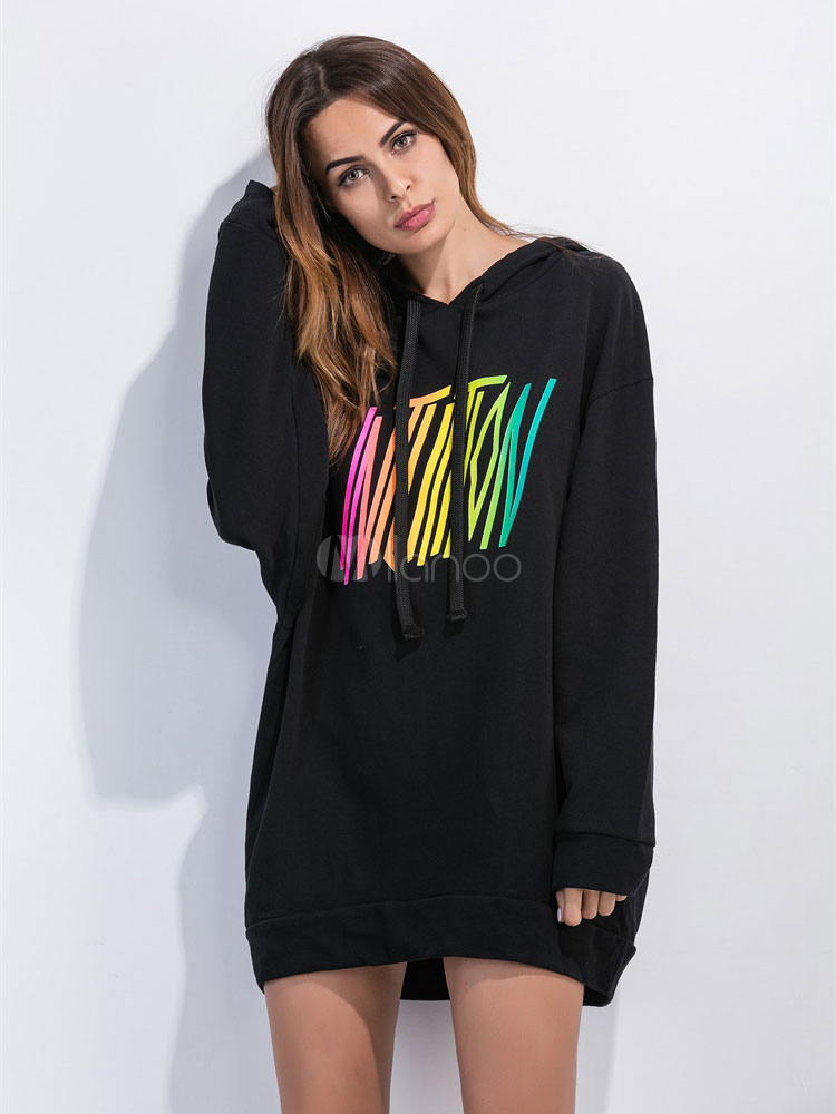 Buy Black Shift Dress Hooded Long Sleeve Words Print Women's Hoodie Dresses for $18.99 in Milanoo store