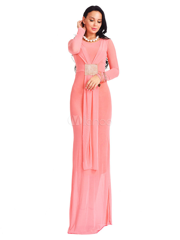 Pink Long Dresses Round Neck Long Sleeve Sequins Shaping Women's Maxi Dress