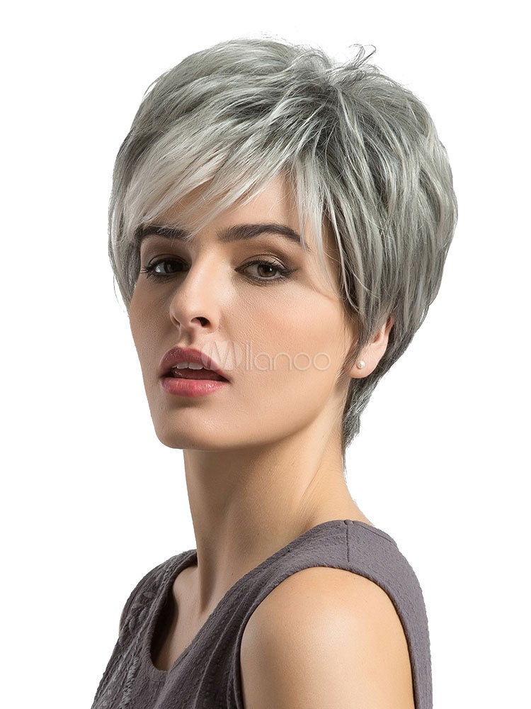 Human Hair Wigs Women's Layered Boycuts Side Swept Bangs Pewter Short Wigs