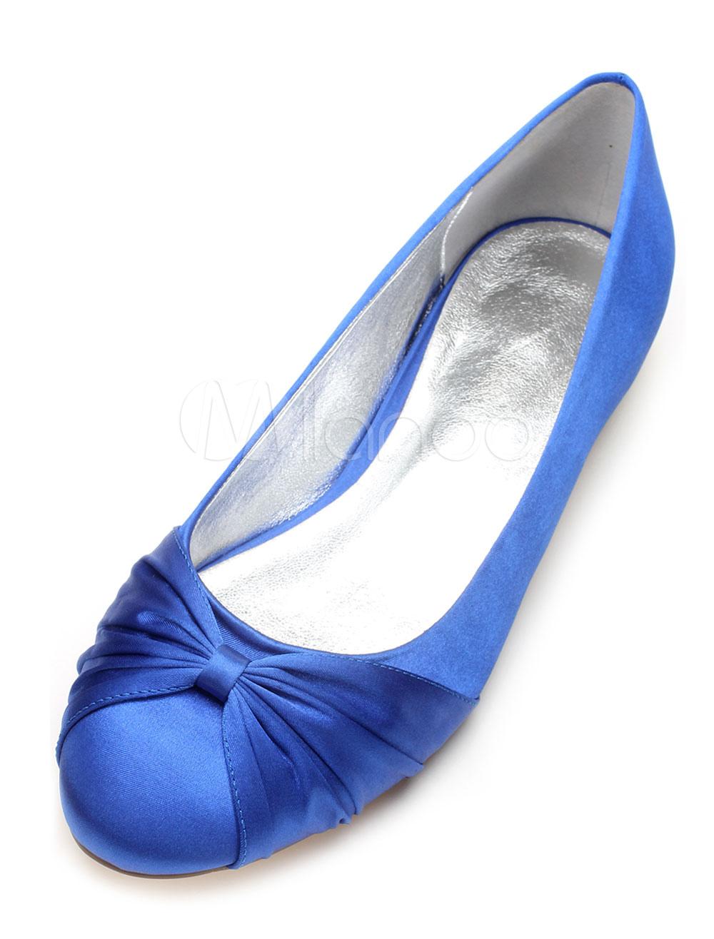 Zapatos de puntera redonda Planos de seda y satén elegantes para boda 8ORml