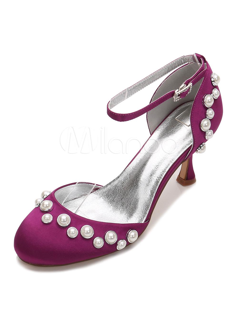 Zapatos de puntera redonda Tacón bobina de seda y satén con perlaselegantes para boda fEepR