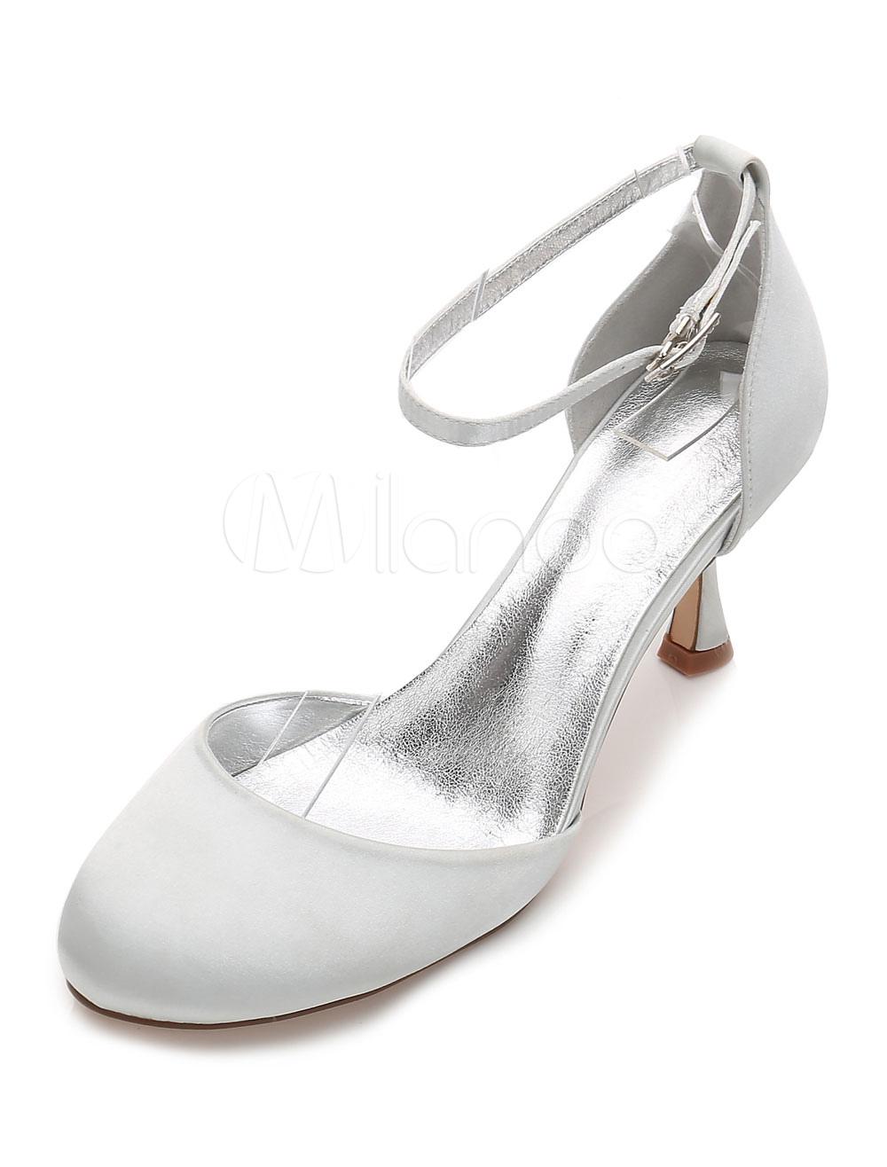 Zapatos de puntera redonda Tacón bobina de seda y satén elegantes Fiesta de bodas CPeUXr