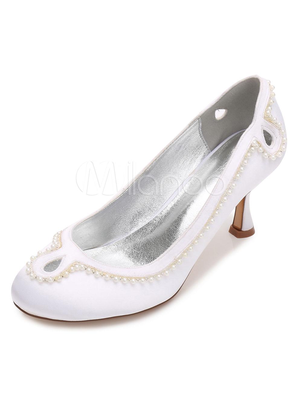 Zapatos Tacón bobina de puntera redonda de seda y satén Fiesta de bodas tsiWu