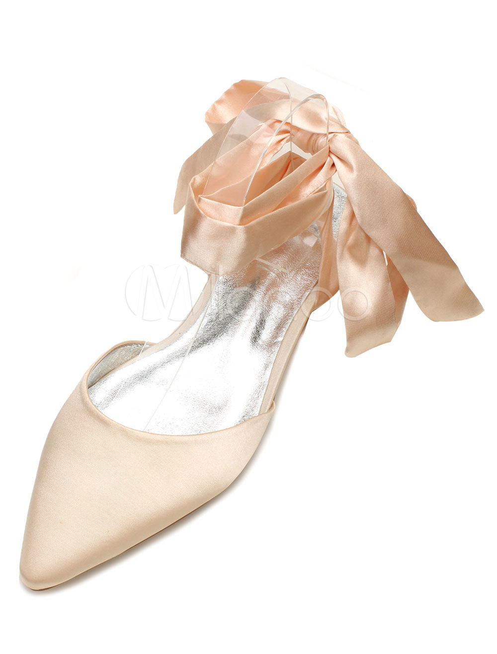 White Bridal Shoes Satin Pointed Toe Lace Up Flat Wedding Shoes For Women