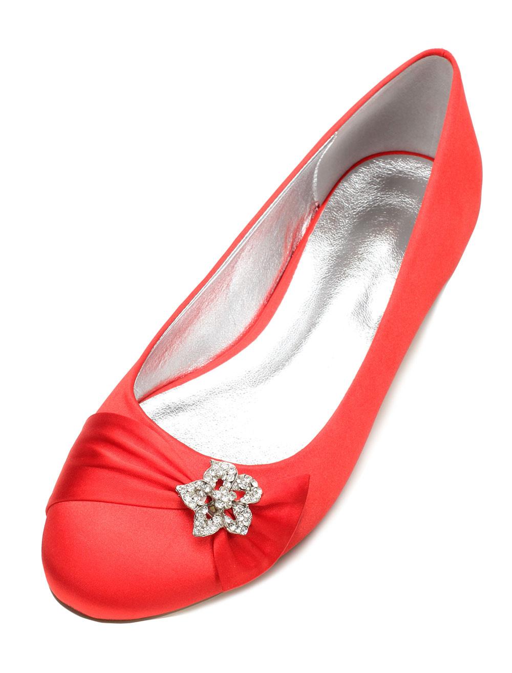Zapatos Planos de puntera redonda de seda y satén Fiesta de bodas Px8QY