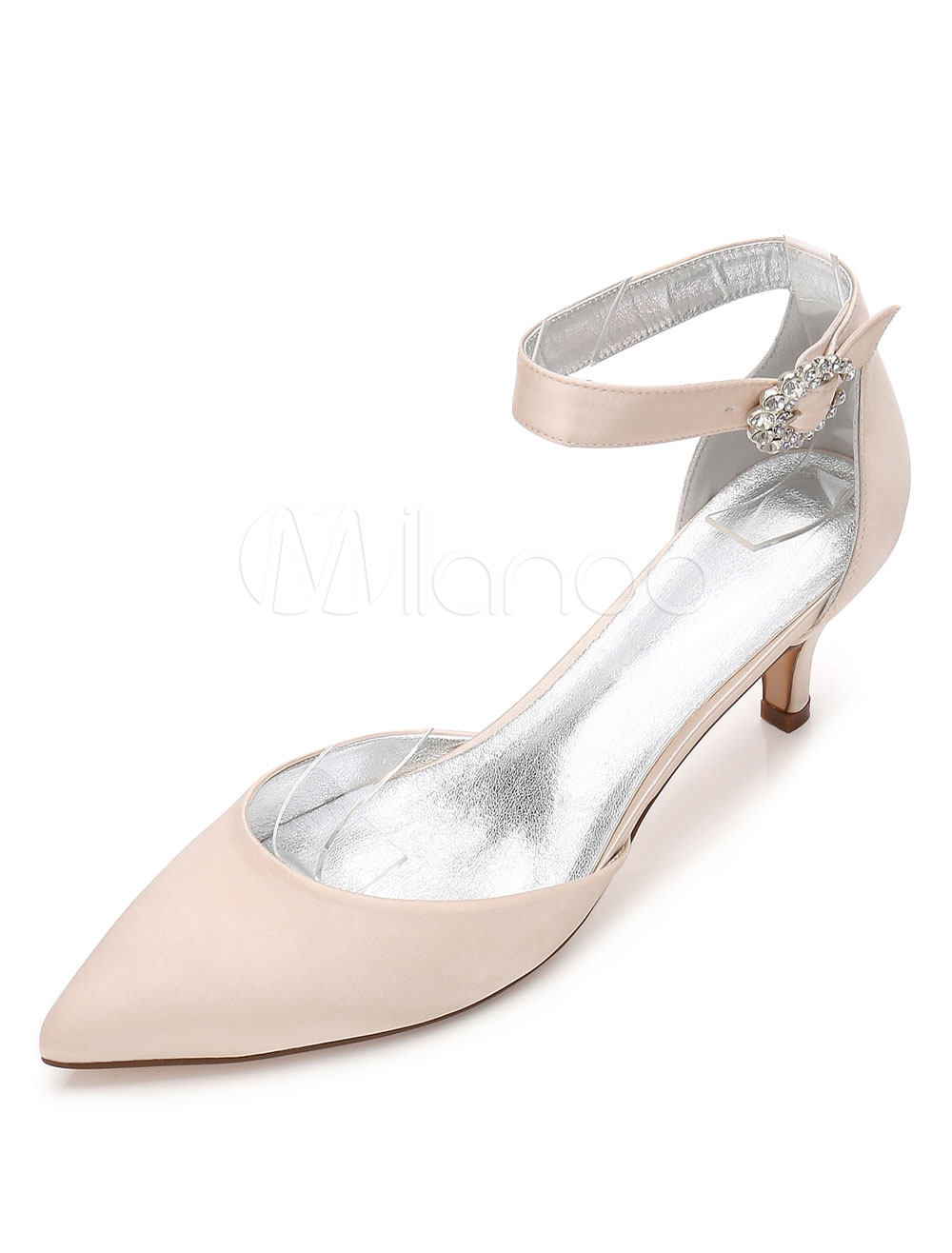 White Wedding Shoes Satin Pointed Toe Rhinestones Ankle Strap Kitten Heel Bridal Shoes