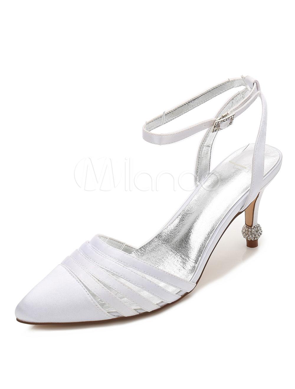 Ivory Wedding Shoes Satin Pointed Toe Rhinestones Ankle Strap Bridal Shoes