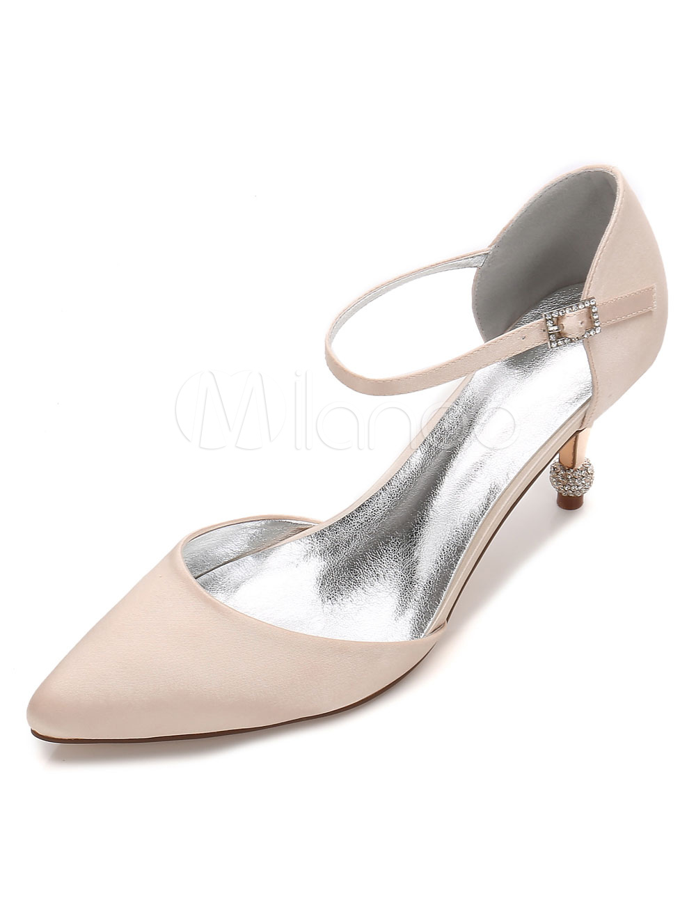 Silver Wedding Shoes Pointed Toe Rhinestones Buckle Detail Bridal Shoes For Women