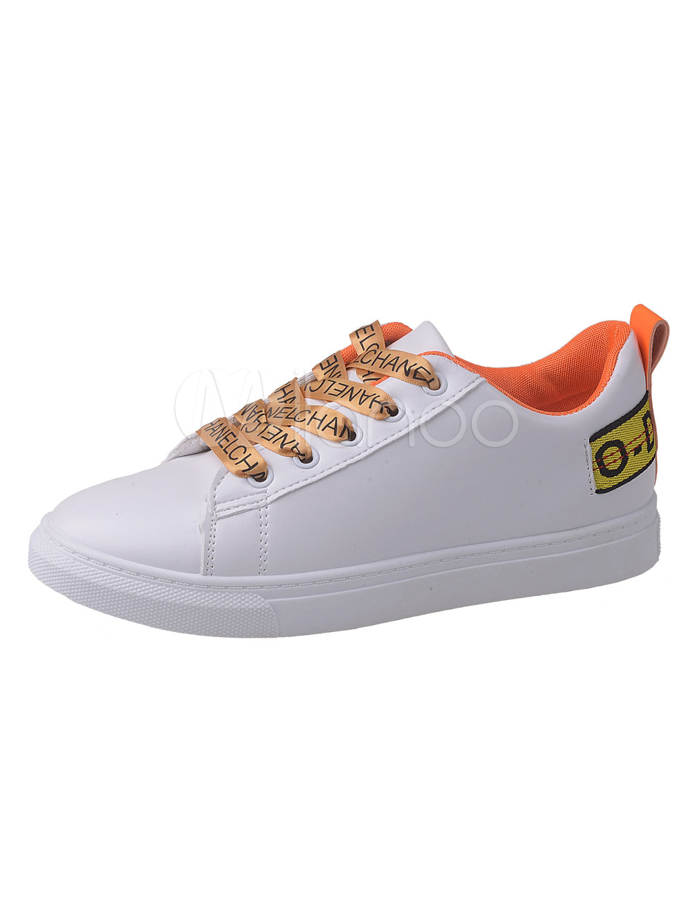 Women's Skate Shoes Orange Round Toe Lace Up Sneakers