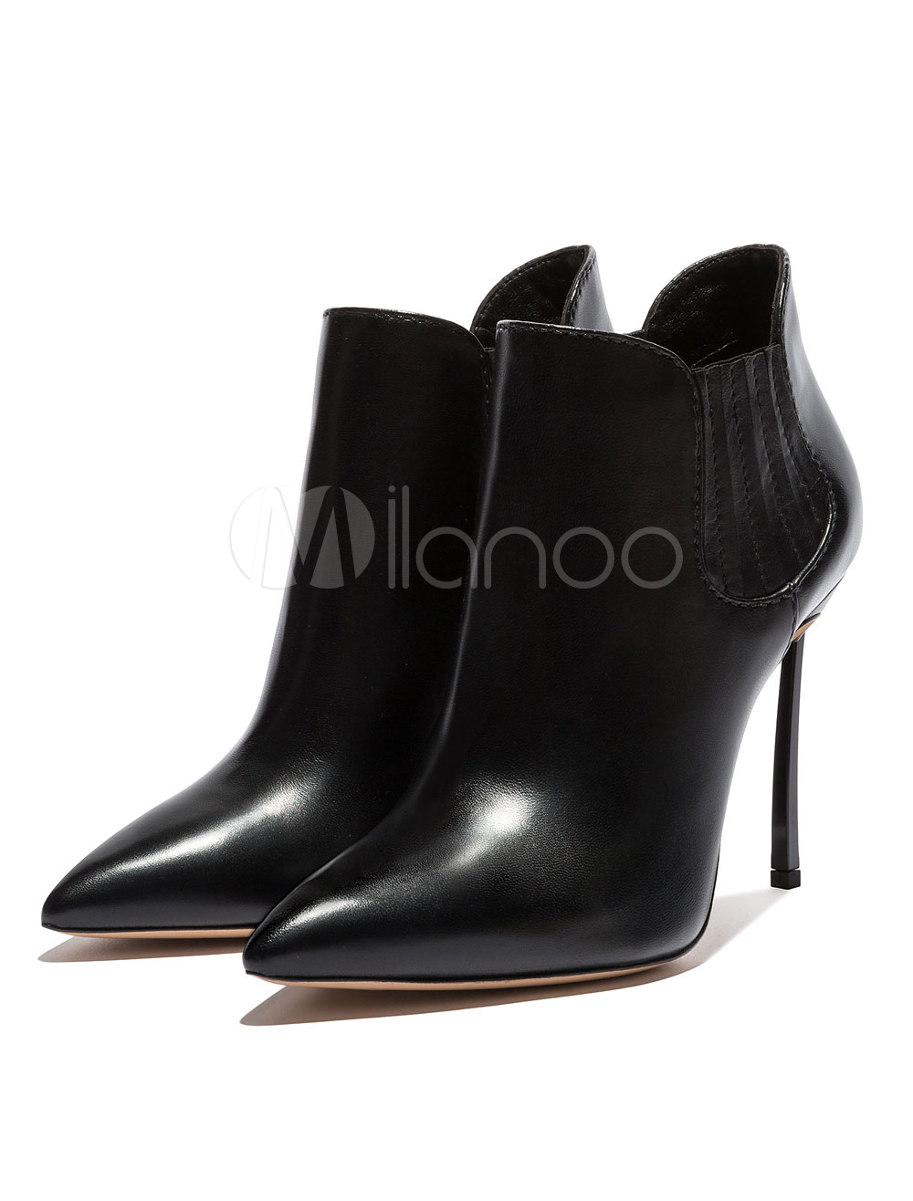Buy High Heel Booties Women's Black Pointed Toe Slip On Ankle Boots for $94.49 in Milanoo store