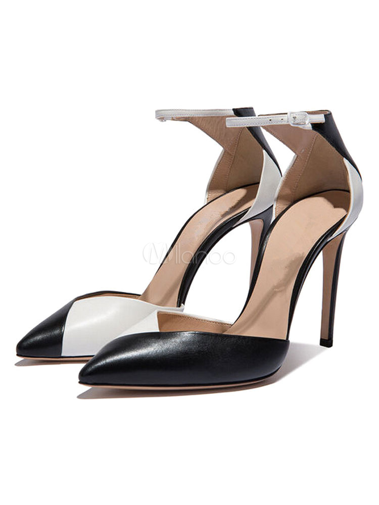 Buy Women's High Heels Pointed Toe Two Tone Ankle Strap Pumps for $67.49 in Milanoo store