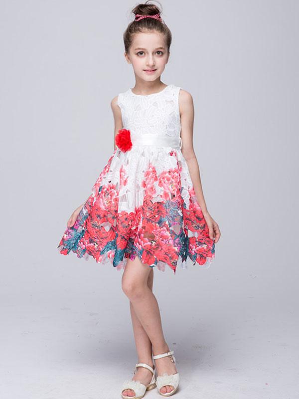 Vestido de niña para boda 2018 de línea A Cremallera estampado mini ...