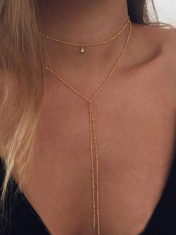 Buy Golden Layered Necklace Metal Details Fringes Women's Stylish Choker Necklace for $3.59 in Milanoo store