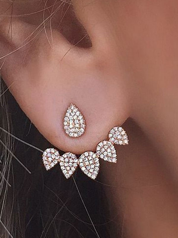 Golden Ear Cuff Rhinestones Drop Design Women's Ear Stud