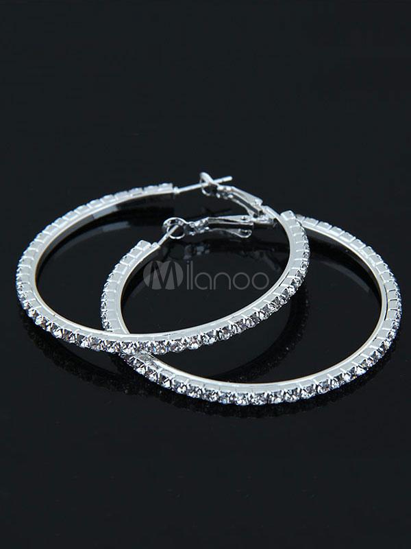 Buy Silver Hoop Earrings Round Brilliant Rhinestones Alloy Women's Party Earrings for $5.59 in Milanoo store