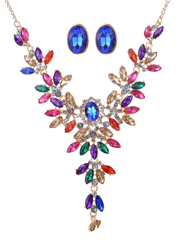 Luxurious Jewelry Set Flowers Rhinestones Statement Necklace With Ear Stud For Women
