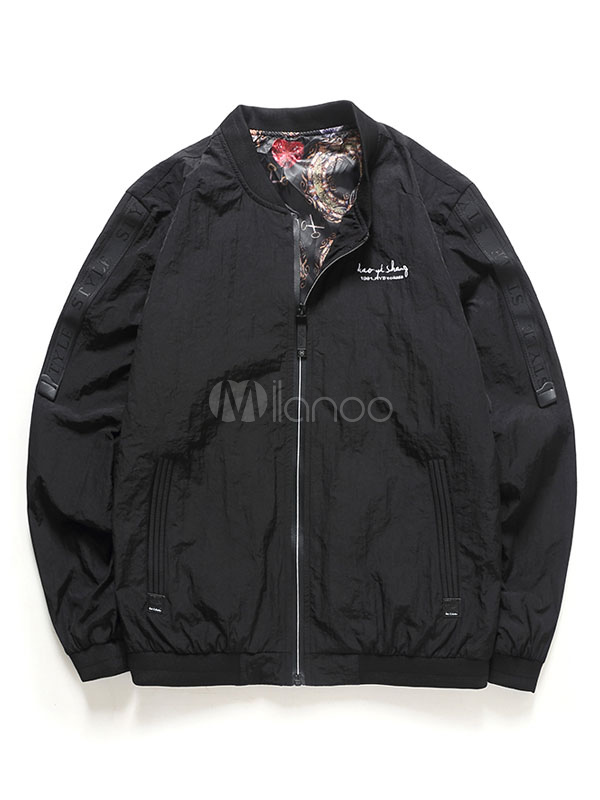 Buy Black Bomber Jacket Men's Stand Collar Long Sleeve Zip Up Windproof Jacket for $29.69 in Milanoo store