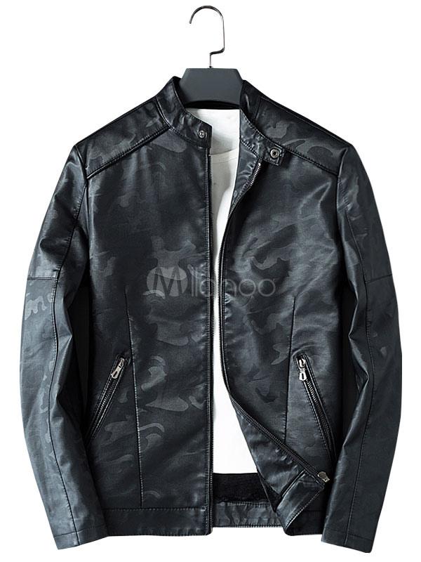 Giacca di Pelle da Uomo comoda con colletto alla coreana mimetico con Zip  normale vestibilità Slim ... 67ccf5f22de
