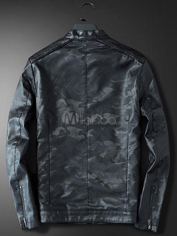 ... Giacca di Pelle da Uomo comoda con colletto alla coreana mimetico con  Zip normale vestibilità Slim b88302dd6b1