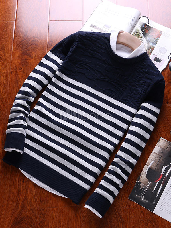 Black Pullover Sweater Round Neck Long Sleeve Striped Men's Sweater